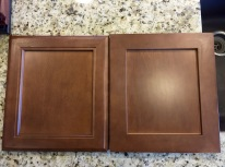 Two different standard styles of cabinet doors.